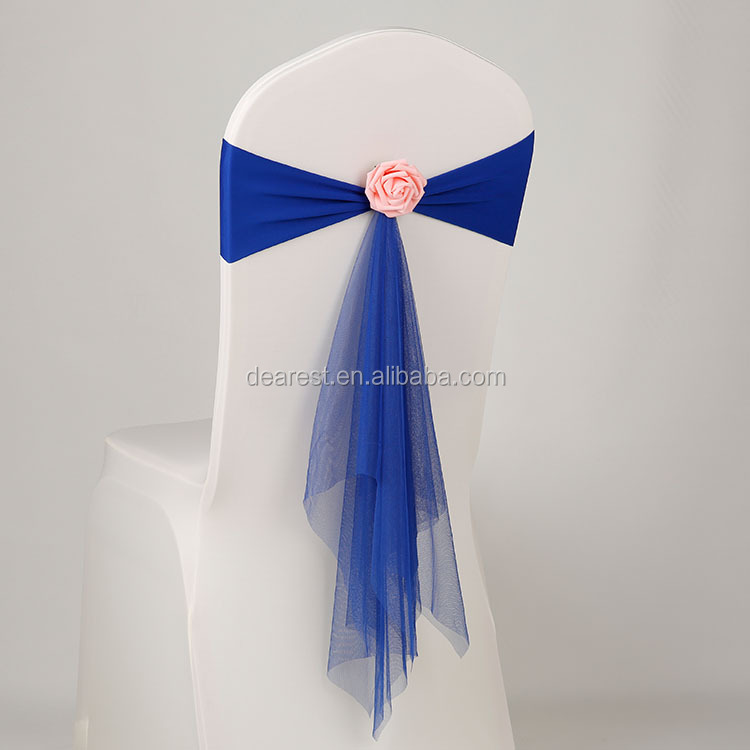 cheap fancy net yarn chair sash with flower for wedding and party