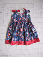 Red White Blue Summer Baby Patriotic Sundress Memorial Day Party Dress