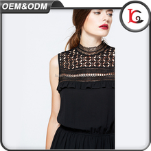 new arrival MOQ 100pcs western style black lace fashion dress long chiffon latest dress designs for ladies