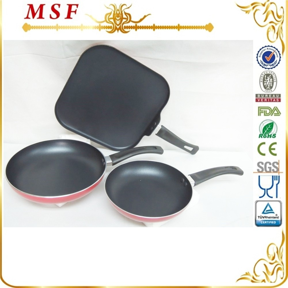 3pcs press aluminum non-stick cookware set with induction bottom