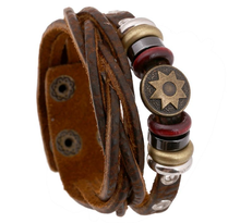 Retro Men Vintage Multiple Layer Braided Leather Bracelet Bangles Party Wristband Jewelry