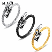 Wholesale custom stainless steel twisted cable cuff bangle bracelet gold dragon bracelet for men