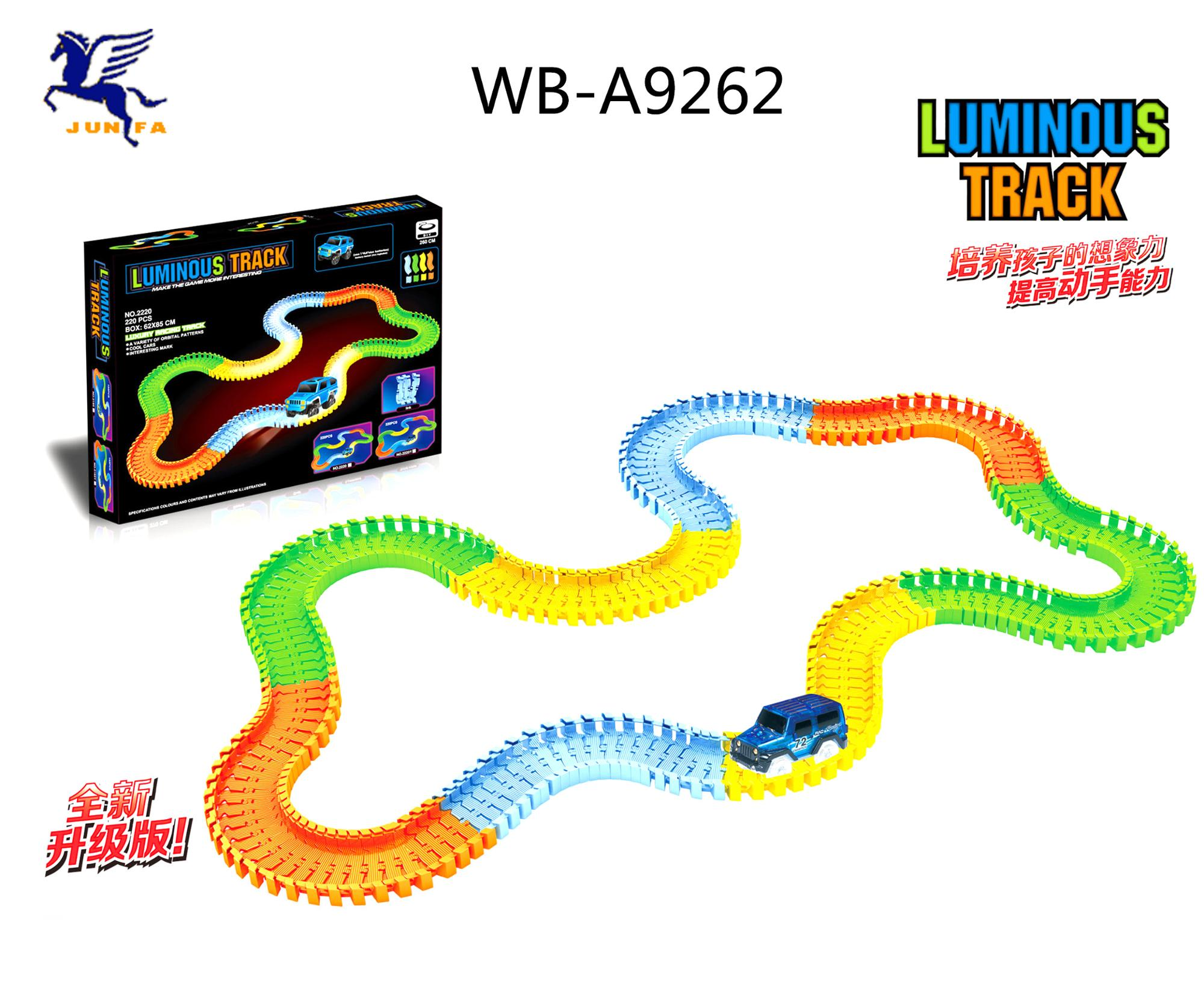 children's favorite 73 pieces car racing track with LED car track light