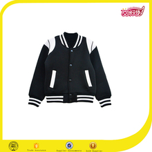 High quality cheap cotton plain black children varsity jacket wholesale