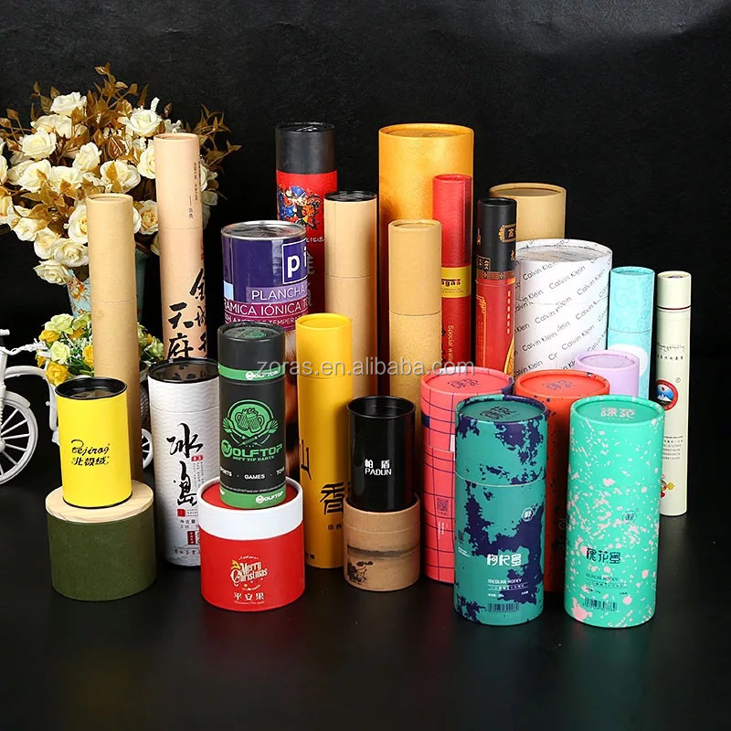 Wholesale eco friendly custom size logo print lip balm round luxury cardboard paper tube packaging