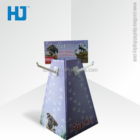 Retail Store Cardboard Hook Display for Hanging Christmas Gift , Collapsible Display Shelf With Hooks