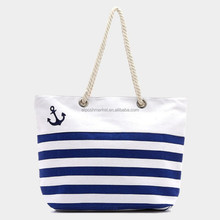 Wholesale Customized Striped Anchor Canvas beach bag Yellow Blue Red Striped Beach Bag