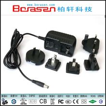 Interchangeable USB plug ac/dc Power Adapter 12V 1A for mobile phone MP3 MP4 with UL CCC BS CUL GS CC CE SE SAA certificated