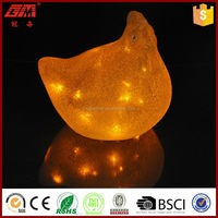 hot sale led glass Hen for Easter decoration