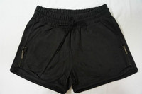 Black Casual Faux Suede Women's Shorts
