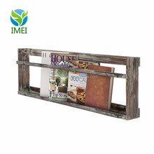 YM0A30 Rustic Wall Mounted Torched Wood Magazine Book Display Rack Shelf with Railing
