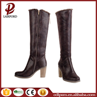 2016 Fashion Design China Wholesale Free sample Durable no Lace Plush Lining High Quality Women Sexy Block heel Knee boots