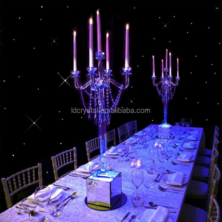 wholesale 5 arms crystal candelabra with hanging crystal for wedding home decor glass candle holder