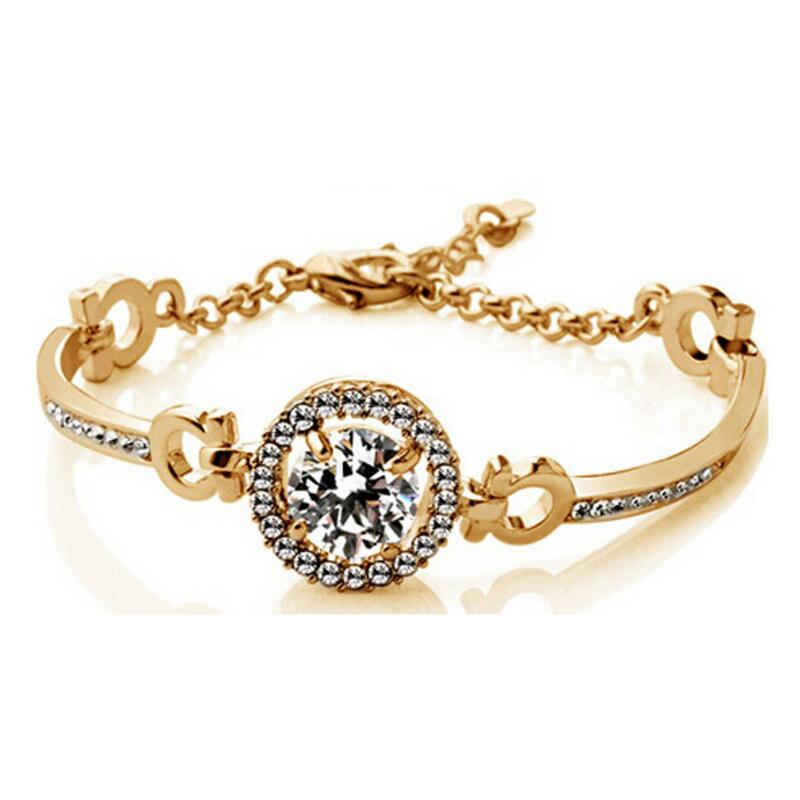 <strong>Jewelry</strong> Round Cubic Zirconia Bracelets Hearts & Arrows Perfect Cut 3.5 Carat CZ Charm Bracelet bangle bracelets with rhinestones