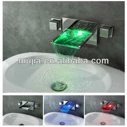 Color Changing LED Waterfall Widespread Bathroom Sinks with Two Faucets