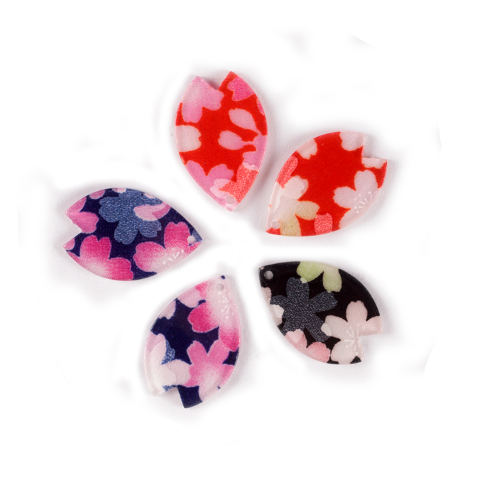 LOW MOQ CNC cut acrylic flower Petal shaped acrylic parts with kimono fabric for DIY hair jewelry accessories