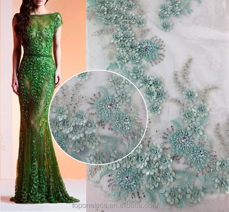 2016 Wholesale crystal bridal lace applique/embroidered tulle lace for garment
