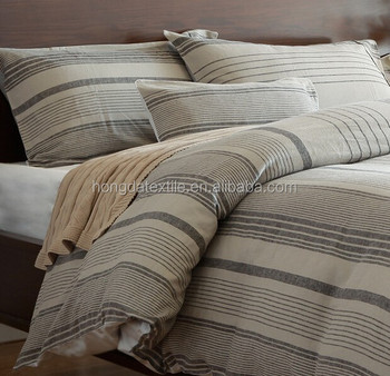 Yarn Dyed French Linen Stripe Bedding Set 100 Flax Duvet