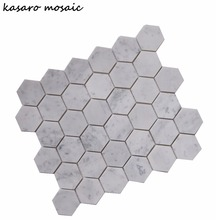 Hexagon Carrara White Mosaic Stone Tiles And Marbles Stone Tiles For Flooring Hexagon Shape Mosaic For House Decor