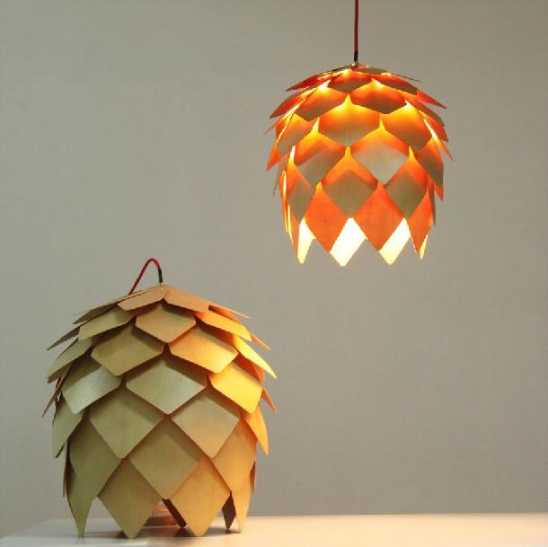 designer lampe krim tannenzapfen moderne holz kronleuchter. Black Bedroom Furniture Sets. Home Design Ideas