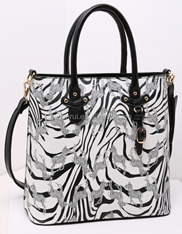 Alibaba italy made in china leisure hard bags creative zebra print handbags/tote bags/shoulder bags