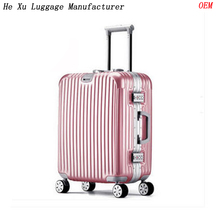 ABS PC aluminum frame trolley luggage bag cases with 360 degree wheeled retractable trolley and combination lock