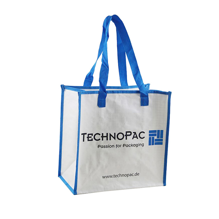 2019 Big recyclable button laminated promotional pp woven bag promotional shopping bag
