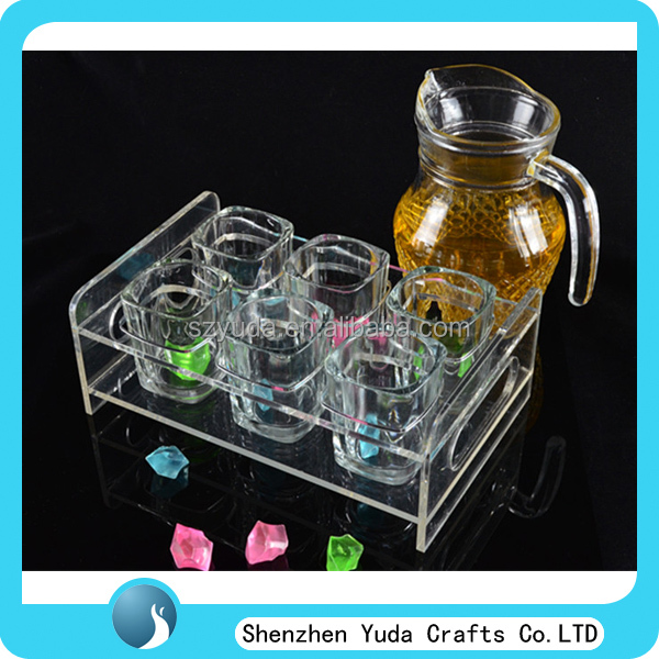 Two tiered 2x3 clear acrylic tea cups holder stand with handles