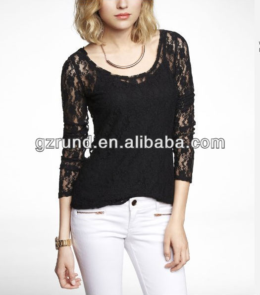 2014 New fashion long sleeve pansy lace scoop neck lace tee ladies tops latest designs