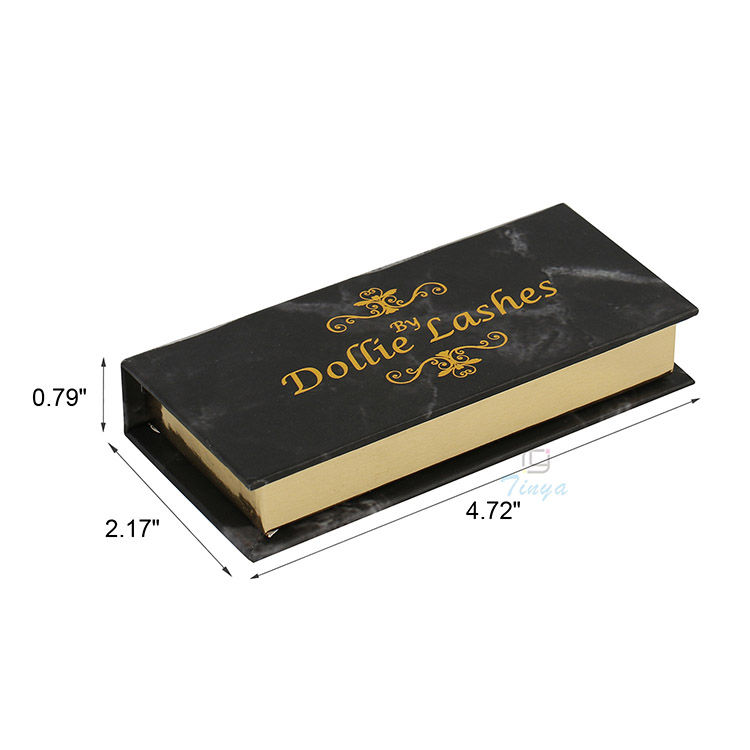 hot stamp windowed book shape eyelash box packaging