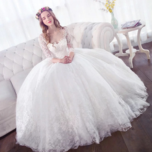 ZH2072G Modest Crew Neckline Lace Appliques Princess Ball Gown Wedding Dresses with Half Long Sleeves Floor Length Bridal Gown