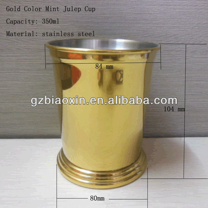 Stainless steel gold color mint julep cup, water mugs