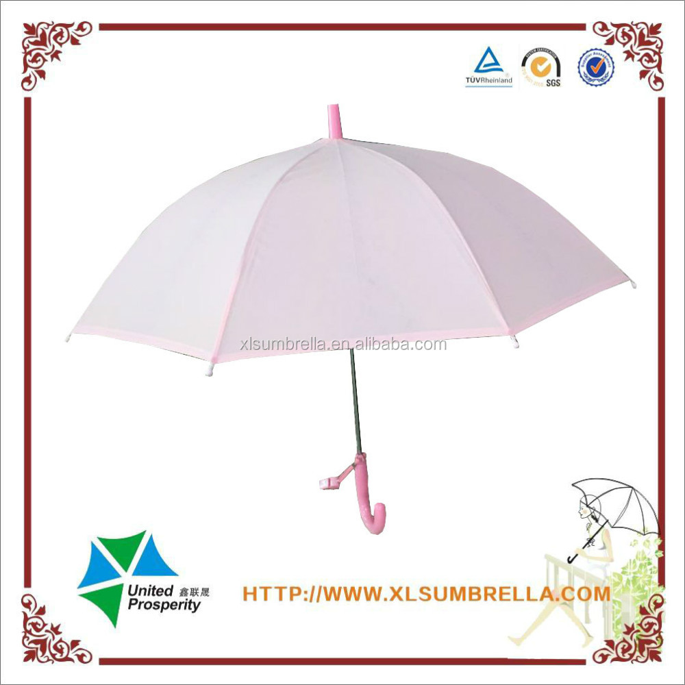 2016 High quality and unique pink plastic umbrella POE material for beautiful gril
