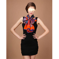 Wholesale classic fashion 100% silk beautiful pattern 10choice women wear popular long silk scarf