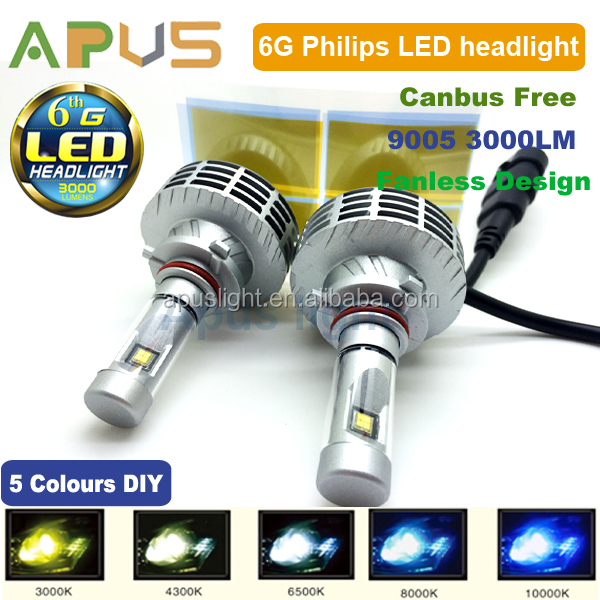 DIY changeable color led headight kit 6HL 9005 3000LM Wholesale
