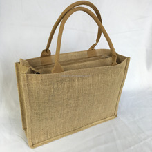 Hot Selling Fashion Brown Jute Tote Bag With Leather Handles