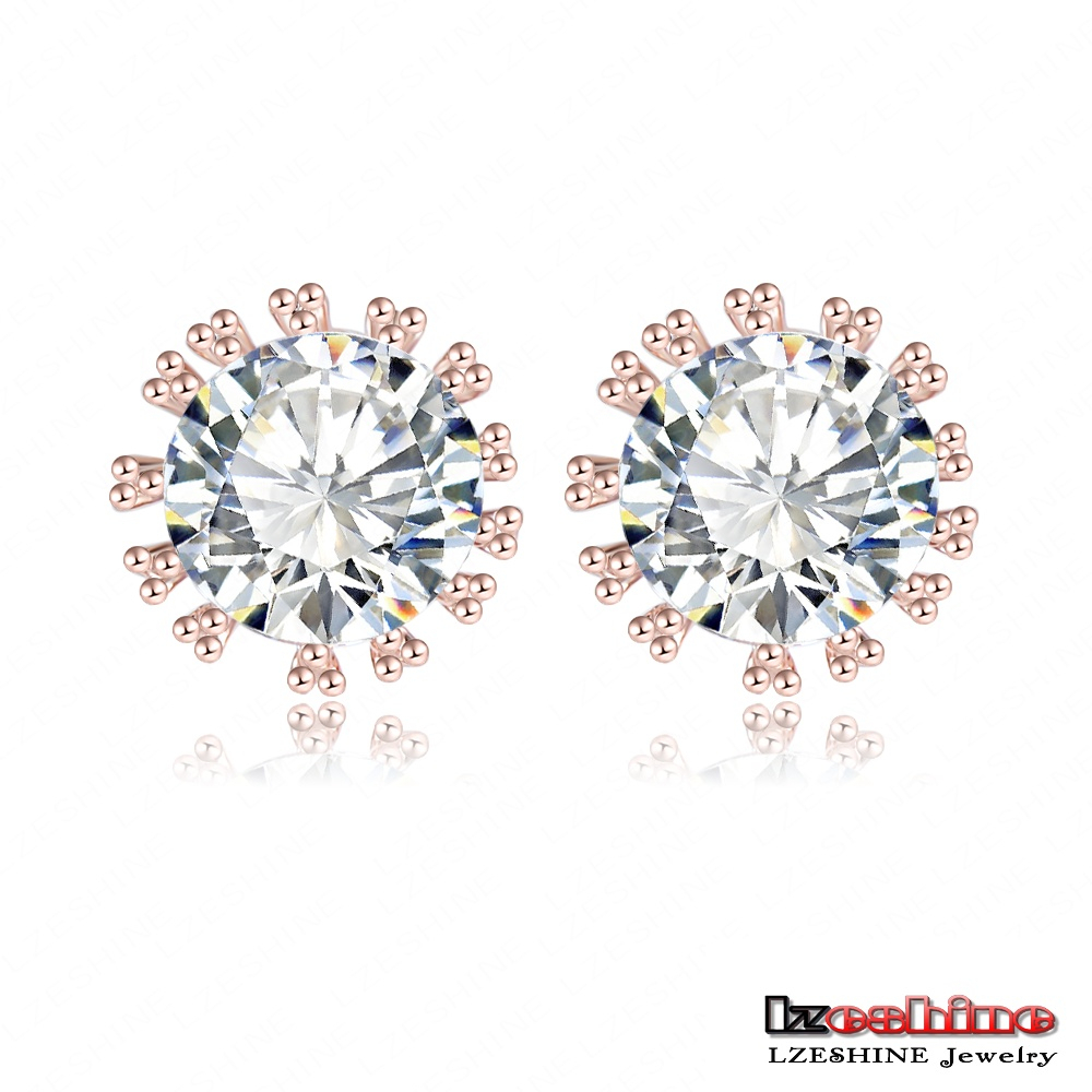 True Love Forever Earring Real 18K Rose Gold Plated Genuine SWA Stellux Austrian Crystal Flower Shaped Stud Earrings ER0297-A