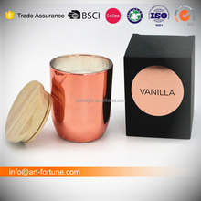 Paraffin wax filled copper glass scented jar candle with wooden lid in black golden foil gift box
