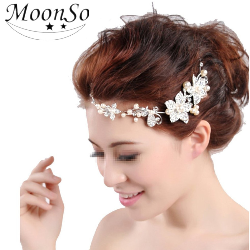 2016 NEW Women's Hair Jewelry Wedding Flower Pearl Bead Hair Comb Hair Pins Bridal Accessories MoonSo KH2537