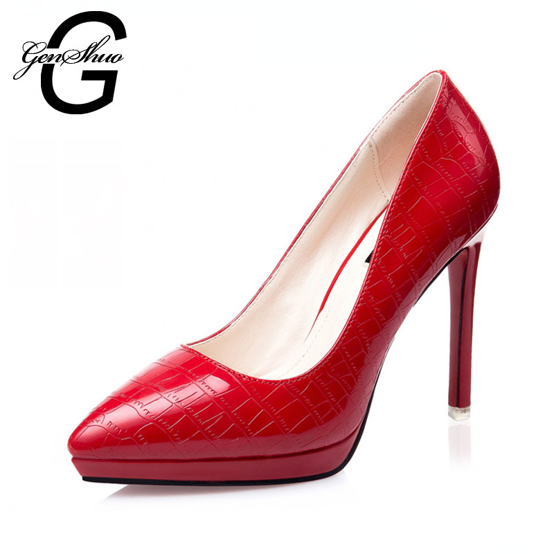 2016 New Arrived Lady's Pumps Red Black Silver Sexy Pointed Toe Slip on Wedding Shoes new model women sandals