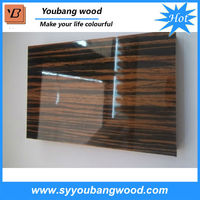 glossy mdf wood / mdf cherry wood veneer panel