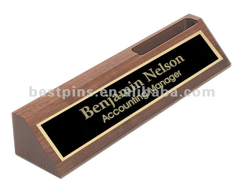 wooden desk name plaque with metal plate