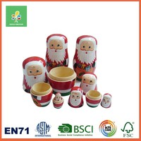 Natural wood cartoon baby doll traditional handicraft Christmas santa nesting dolls