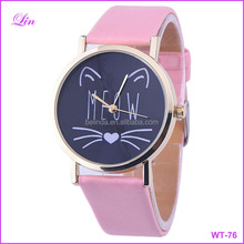 Cute Cat Pattern Women Girls Leather Analog Quartz Watch Ladies Casual Wrist Watches