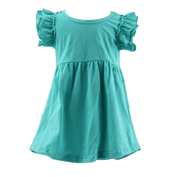 New arrival design baby teal solid color flutter sleeve high waist simple design children clothing child summer fantastic garmen