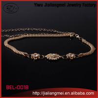 2015 Fashion Gold Plated Flower Buckle Ladies Dress Waist Chain Belt