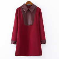 D24399Q 2014 the new winter women fashion wine red long sleeve dress