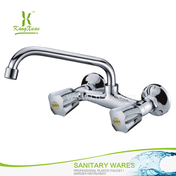 Kitchen Chromed Abs Plastic double lever faucet