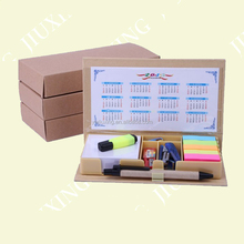 Eco friendly customized memo box with stationery set and calendar