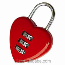 Hot sale high quality 3 digital love digital lock/love heart shaped padlock